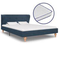 vidaXL Krevet od tkanine s memorijskim madracem plavi 120 x 200 cm