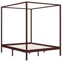 vidaXL Okvir za krevet s baldahinom od borovine tamnosmeđi 160x200 cm