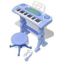 Plava dječja klavijatura s 37 tipki, stolicom i mikrofonom