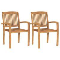 vidaXL Složive vrtne blagovaonske stolice 2 kom od masivne tikovine