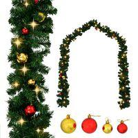 vidaXL Božićna girlanda ukrašena s kuglicama i LED žaruljama 10 m