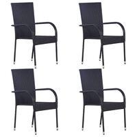 vidaXL Složive vrtne stolice 4 kom od poliratana crne