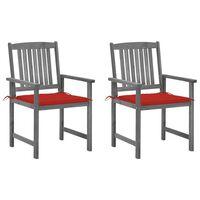 vidaXL Redateljske stolice s jastucima 2 kom sive masivno drvo bagrema