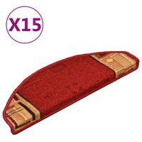 vidaXL Samoljepljivi otirači za stepenice 15 kom crveni 65 x 21 x 4 cm