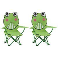 vidaXL Dječje vrtne stolice od tkanine 2 kom zelene