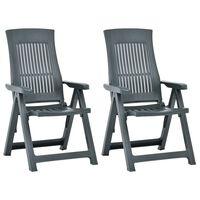 vidaXL Vrtne nagibne stolice 2 kom plastične zelene