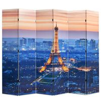 vidaXL Sklopiva sobna pregrada sa slikom Pariza noću 228 x 170 cm