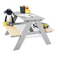 Pinolino dječji stol za piknik s klupama Nicki für 4 drveni sivi