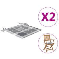 vidaXL Jastuci za vrtne stolice 2 kom sivi karirani 40x40x4 cm tkanina