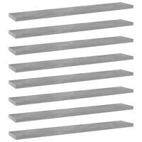 vidaXL Police za knjige 8 kom siva boja betona 60x10x1,5 cm od iverice