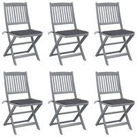 vidaXL Sklopive vrtne stolice s jastucima 6 kom masivno bagremovo drvo