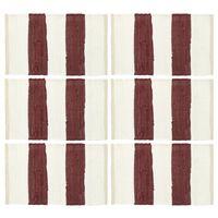 vidaXL Podmetači za stol 6 kom chindi prugasti bordo-bijeli 30 x 45 cm