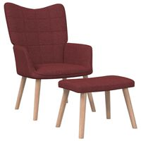 vidaXL Stolica za opuštanje s tabureom 62x68,5x96 cm boja vina tkanina