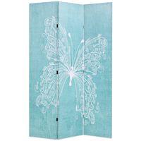 vidaXL Sklopiva sobna pregrada s uzorkom leptira 120 x 170 cm plava
