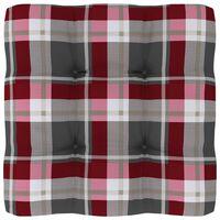 vidaXL Jastuk za sofu od paleta crveni karirani 60 x 60 x 12 cm