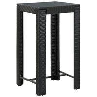 vidaXL Vrtni barski stol crni 60,5 x 60,5 x 110,5 cm od poliratana
