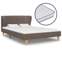 vidaXL Krevet od tkanine s memorijskim madracem bež 120 x 200 cm