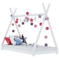 vidaXL Okvir za dječji krevet od masivne borovine bijeli 80 x 160 cm