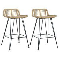 vidaXL Barske stolice od ratana 2 kom prirodna boja