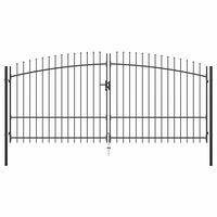 vidaXL Dvostruka vrata za ogradu s ukrasnim kopljima 400 x 225 cm