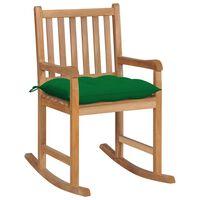 vidaXL Stolica za ljuljanje sa zelenim jastukom od masivne tikovine