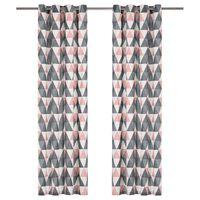vidaXL Zavjese s metalnim prstenima 2 kom pamučne 140x245 cm sivo-roze