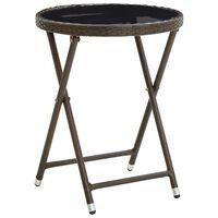 vidaXL Stolić za čaj smeđi 60 cm od poliratana i kaljenog stakla