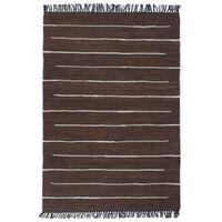 vidaXL Ručno tkani tepih Chindi od pamuka 160 x 230 cm smeđi