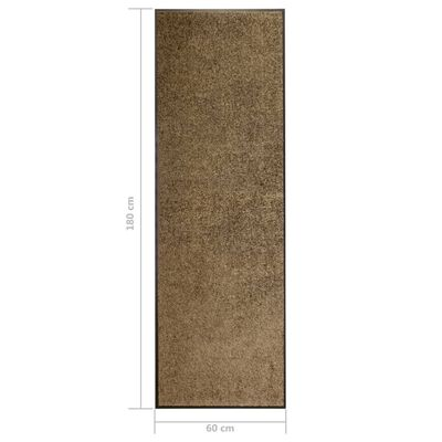 vidaXL Otirač perivi smeđi 60 x 180 cm