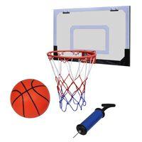 Indoor set za košarku; obruč s mrežicom + tabla + lopta + pumpa