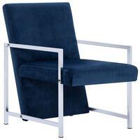 vidaXL Fotelja s kromiranim nogama plava baršunasta
