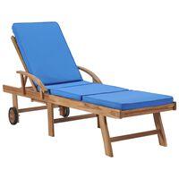 vidaXL Ležaljka za sunčanje s jastukom masivna plava