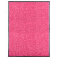 vidaXL Otirač perivi ružičasti 90 x 120 cm