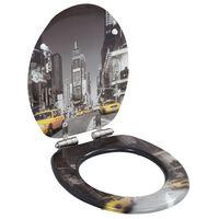 vidaXL Toaletna daska s mekim zatvaranjem MDF s uzorkom New Yorka