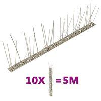 vidaXL Set od 10 šiljaka u 5 redova protiv ptica i golubova 5 m