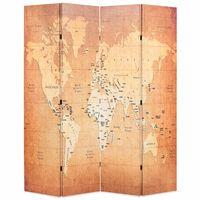 vidaXL Sklopiva sobna pregrada s kartom svijeta 160 x 170 cm žuta
