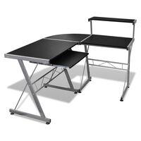 Crni uredski stol za računalo sa policom za tipkovnicu