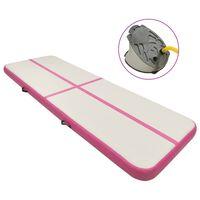 vidaXL Strunjača na napuhavanje s crpkom 500 x 100 x 15 cm PVC roza