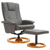 vidaXL Okretna TV fotelja s osloncem za noge od umjetne kože siva