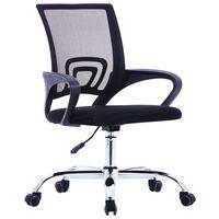 vidaXL Uredska stolica od tkanine s mrežastim naslonom crna