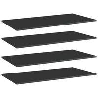 vidaXL Police za knjige 4 kom visoki sjaj crne 80x30x1,5 cm od iverice