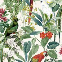 DUTCH WALLCOVERINGS zidna tapeta s tropskim pticama bijelo-zelena