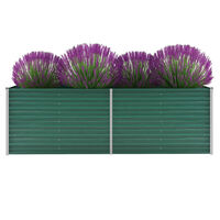 vidaXL Vrtna sadilica od pocinčanog čelika 240 x 80 x 77 cm zelena