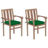 vidaXL Vrtne stolice sa zelenim jastucima 2 kom od masivne tikovine