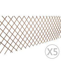 vidaXL Ograda od vrbe za biljke penjačice 5 kom 180 x 90 cm