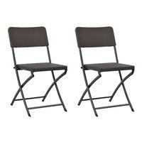 vidaXL Sklopive vrtne stolice od HDPE-a i čelika 2 kom smeđe