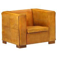 vidaXL Fotelja od prave kože žućkastosmeđa