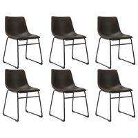 vidaXL Blagovaonske stolice od umjetne kože 6 kom tamnosmeđe