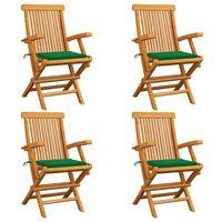 vidaXL Vrtne stolice sa zelenim jastucima 4 kom od masivne tikovine