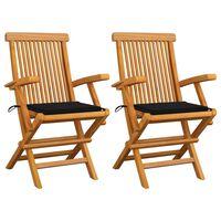vidaXL Vrtne stolice s crnim jastucima 2 kom od masivne tikovine
